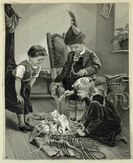 """Woven picture after a painting by Paul Hermann Wagner shows two little girls and a little boy in a Tyrolean cap around a basket of four kittens. Signer lower right corner; initials """"NF"""" in lower left. Details in satin, weft floats, twill and fancy twill, and plain weave. Narrow satin selvedge on each vertical edge. Raw edge on top and bottom."""