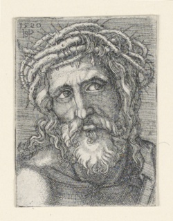 Figure of the Head of Christ, crowned with thorns. He is shown full-face, and one shoulder is seen at left. At upper left the artist's monogram and date 1520.