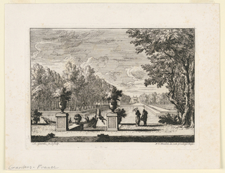 View of formal gardens, with a chateau at far aned of a long pool and promenade.  Trees to the left of the pool. In the foreground, two figures on the bank to the right of two large urns on pedestals; other figures in a pleasure boat.