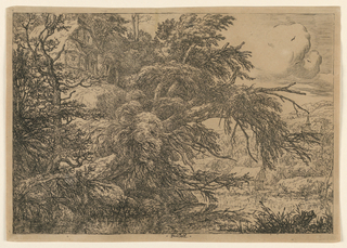"""Landscape with trees at left; a river in right foreground. A thatched cottage visible at left; another cottage over the river at right. In mid-distance, a church; clouds and three birds in the sky. Inscribed: left center: """"Ruisdael."""""""