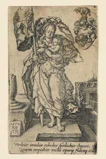Full-length figure of a woman, standing, facing the spectator. A nude child is supported on her left arm, while she carries a standard in her right hand. The flag bears the image of a dog. At upper left, an escutcheon bearing on its shield a lioness and her cubs. Monogram of artist and date 1552 on tablet, lower left. Inscription in two lines below.
