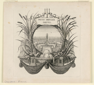 First plate in a suite bearing the title, on a banner hung from a fork. Below, within a wreath of laurel, cattails, fountain water and nets, is the picture of a formal garden with a high fountain in the center and birds above