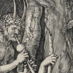 A satyr stands at left, playing a flute. A woman is seated on an animal skin, at right, holding a child on her lap. Trees in the background.