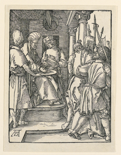 Pilate is seated on his throne at left, facing right. He washes his hands in a shallow basin, attended by a servant, who pours the water. Christ is shown being led away by soldiers, right. Monogram of Dürer, lower left.