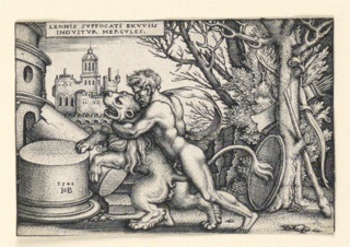 Print, Hercules and the Nemean Lion, 1542–48
