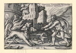 Print, Hercules Capturing Cerberus, 1542–48
