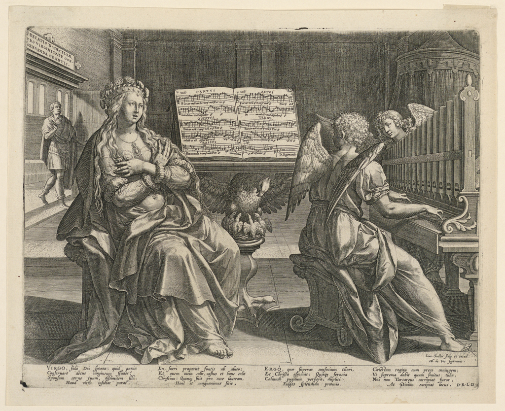 """The saint is seated before a music-desk, singing; she is accompanied at the organ by an angel. A yong man enters the room in the left rear. Over it is an inscription tablet: """"PRECATIO D. CAECILIAE/PRO VIRGINITATE CON-/SERVANDA ORANTIS."""" Signed bottom right: """"Ioan. Sadler sculp. et excud./ M. de Cos figurauit."""" Bottom margin: a poem, beginning: """"VIRGO, fida Dei sponsa; ending: """"At Diuum excipiat locus. D.R.LD."""""""