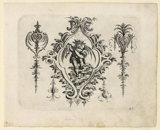 Ornamental escutcheon composed of leafy bend-work. In the center is a putto playing a lute and standing on a bush. At either side, a leaf forms with shell-like blooms.