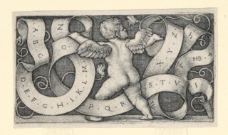 A winged cupid, seen from the back, holds in his two hands a long, interlaced scroll, on which are shown the letters of the alphabet. Third state.
