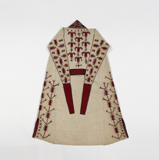 Woman's white cotton chyrpy embroidered with silk and wool felt appliqué in red, green, yellow, blue and magenta. Vertical stalks of highly stylized tulips rise from the hem, and a wide solidly-worked geometric border forms the collar and comes about half-way down the front. False sleeves fall down the back, and are joined at the wrist by a band of red cloth embroidered in black and white. The garment is lined in part with coarse white cotton cloth and is hand-sewn throughout; the lower edge has been cut.