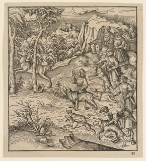"""Huntsmen, on horseback, accompanied by rtheir servants and hunting dogs, follow a stag running to the left. Hills and trees in the background, and a distant castle. """"No. 35,"""" in margin, lower right. Possibly an illustration for Maximilian I's """"Der Weisskunig"""" (written 1505–16; published ca. 1775). Illustrations created by Hans Burgkmair and Leonhard Beck between 1514–16."""