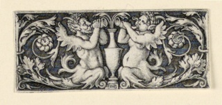 Print, Frieze with a vase flanked by male and female Tritons, ca. 1544