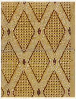 """Lattice work in diamond diaper pattern with white lacy bands edged with deep red, on yellow ground séme with red crosses and white dots. Workbook, inside, loose title page signed """"M. Warren"""", and 34 pages of exercises in arithmetic."""
