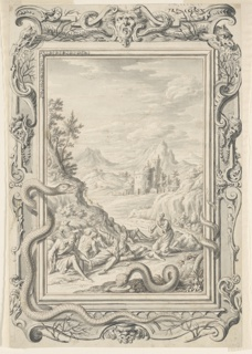 In the foreground a group of men in robes, in various states of undress, are shown writhing on the ground at the base of a mountain or hill. A bearded man on the right is on his knees, facing his right with his hands clasped in prayer. A large serpent appears in front of them, with his body partially wrapped around the right portion of the picture frame. A mountainous landscape that includes a building with two turrets can be seen in the background. Another large serpent is partially wrapped around the picture frame on the left side, and his curving body extends below the bottom portion of the frame. The elaborately ornamented frame also includes decorative masks, tree limbs, and fire-breathing creatures that resemble serpents or snakes.