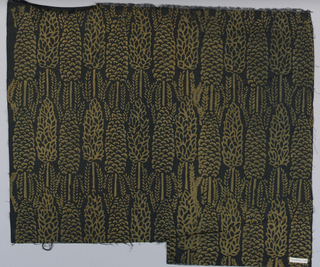 Black cotton printed in a close-set design of narrow trees in gold.