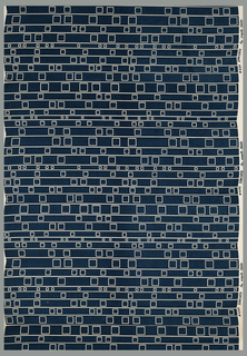 Length of printed cotton with narrow horizontal stripes alternating with line-drawn squares of various sizes spaced irregularly across the width of the fabric. Design reserved in natural on a printed dark steel blue ground.