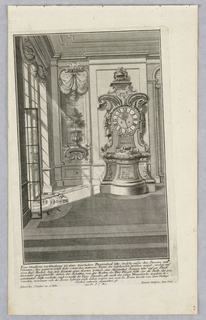 "Plate 4. Design for a large, free standing case clock with inscription""1724/21/ IVNIVS on separate section. Clock placed at rear of room, across from French doors."