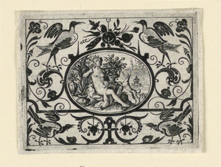 Horizontal oval within horizontal rectangle. In a grotesque field, the medallion depicts a seated woman smelling roses in a landscape.
