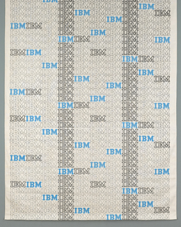 A repeating pattern of the IBM logo in three different graphic presentations: narrowly outlined in black, heavily outlined in black, and solid blue. The darkly outlined logos form two vertical stripes.