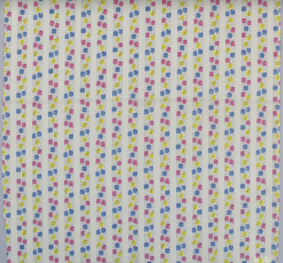 Length of printed fabric patterned by stripes consisting of small colored squares of pink, yellow and blue within a vertical column of black stippled dots. Within each square is a black outline drawing of a flower head or sprig. These alternate with vertical white stripes formed by the ground fabric.