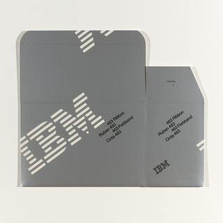 White cardboard box; imprinted with silver. Imprinted in white diagonally (lower left to upper right), across recto and top and sides of box, large striped logo (all running off page): IBM; ; across verso, running off page, smaller stiped logo: IBM®; imprinted in black diagonally (same direction), recto, verso, and recto-side of box: 463 Ribbon/ Ruban 463/ 463 Farbband/ Cinta 463;imprinted in black, recto-side, striped logo: IBM; verso-side, upper left quadrant: Reorder no./ No. de commande:/ Bestellnummber:/ No. de Pedido:/ Quantity:/ Quantite:/ Anzahl:/ Cantidad:/ Color:    black/ Couleur:     noir/ Farbe:     schwarz/ Color:    negro/ Use prior to:/ Utiliser avant le:/ Verwenden vor:/ Usar antes de:; upper center (next to the reorder no.: 1 299 463; imprinted next to quantity: 6; lower left quadrant, verso-side: International Business Machines Corporation/ Made in U.S.A.; center, verso fold in: C.W.Z.; center, recto-fold in: 1299480/3; imprinted in black ink, inside: diagrams 1,2,3 for how to remove, and 1, 2, 3, 4, 5 on how to install; upper left quadrant, inside: To remove:/ Pour retirer:/ Herausnehmen:/ Para sacar:; upper right quadrant, inside: To install:/ Pour mettre en place:/ Einsetzen:/ Para instalar: