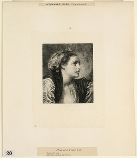 """Print, Head of a Young Girl, from """"Etchings of Pictures in the Metropolitan Museum, New York"""""""