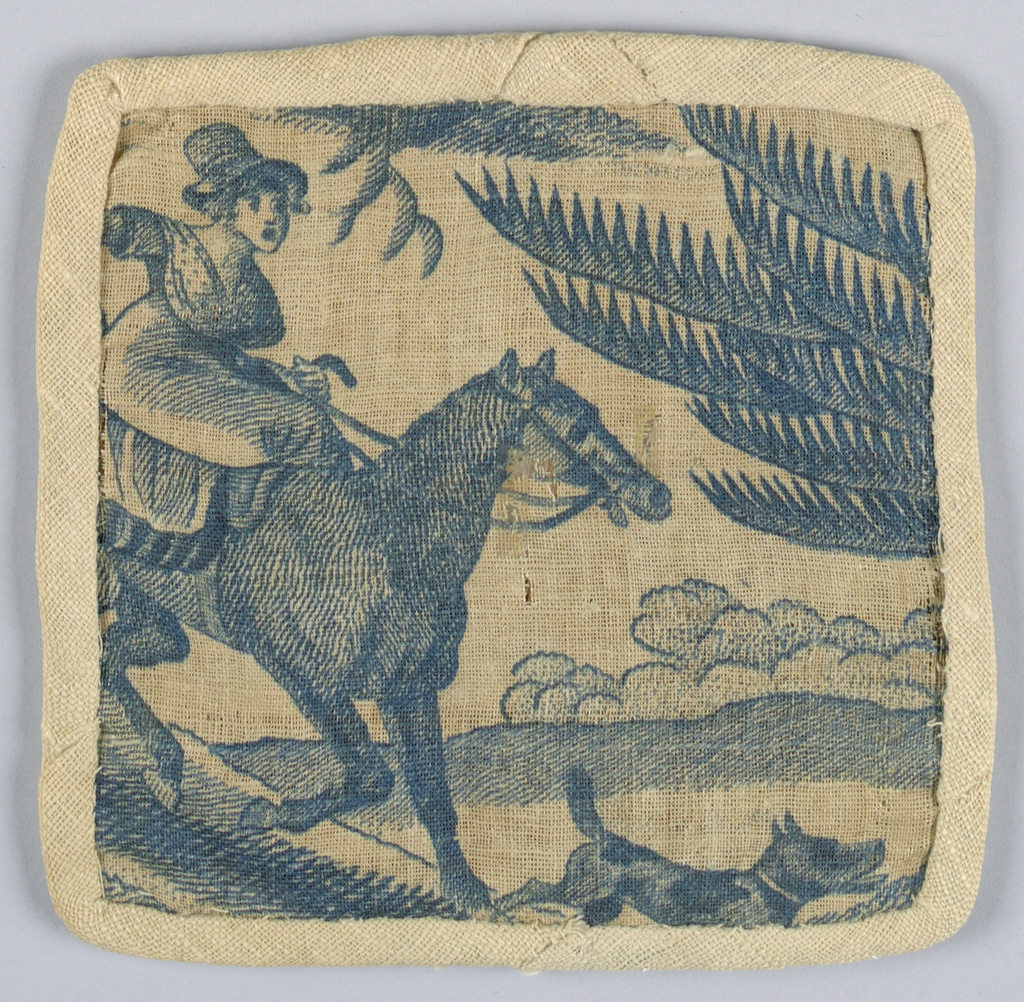 Portion of a larger pattern, showing a woman riding downhill from the left on horseback, with a dog riding ahead.