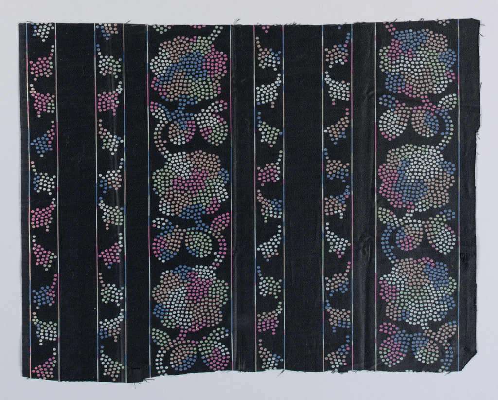 Fragment of black sateen printed in blotchy tones of blue, pink, green, and tan has dot clusters that form vertical floral bands.