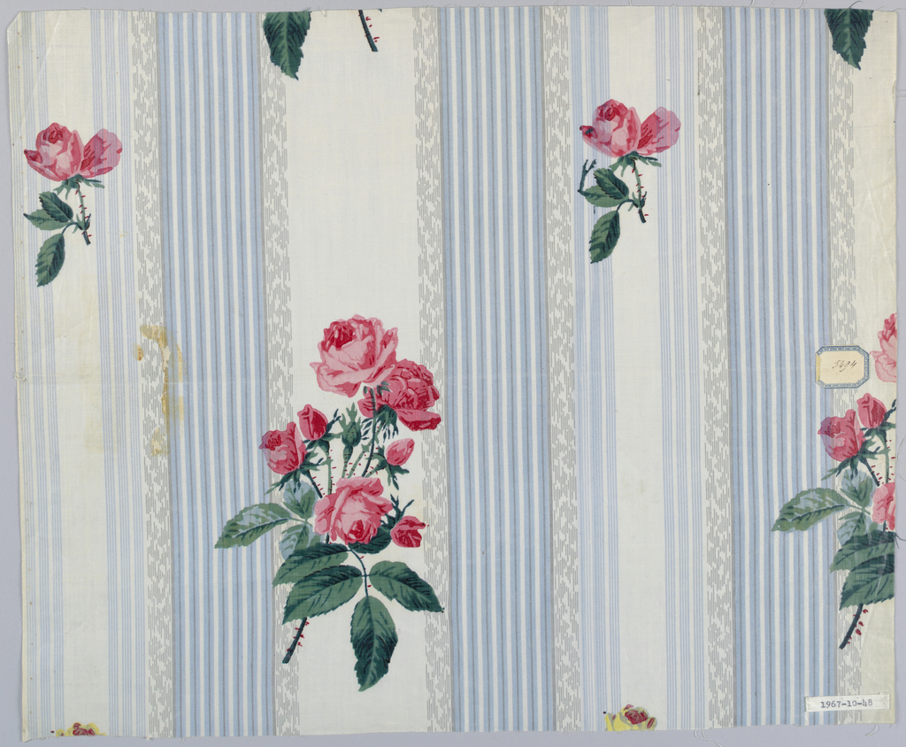Ground decorated with grouped stripes in grey-blue and fancy stripe in grey. Naturalistic rose spray printed in white stripe with foliage printed over ground; rosebud similarly printed, - glazed.