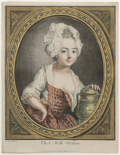 Portrait of a young woman, facing front, presenting a gilded milk can. She wears a frilled bonnet and a plaid dress with a low neckline.