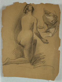 Kneeling female nude, back view. Drapery study at upper right. Figure kneels on right leg, left leg bent forward in background. Arms extended in half gesture.
