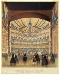 "Vertical rectangle. View from the stage showing the display. Spectators stand in the foreground. Below: ""Brooklyn Sanitary Fair, 1864 / View of the Academy of Music as seen from the Stage."""