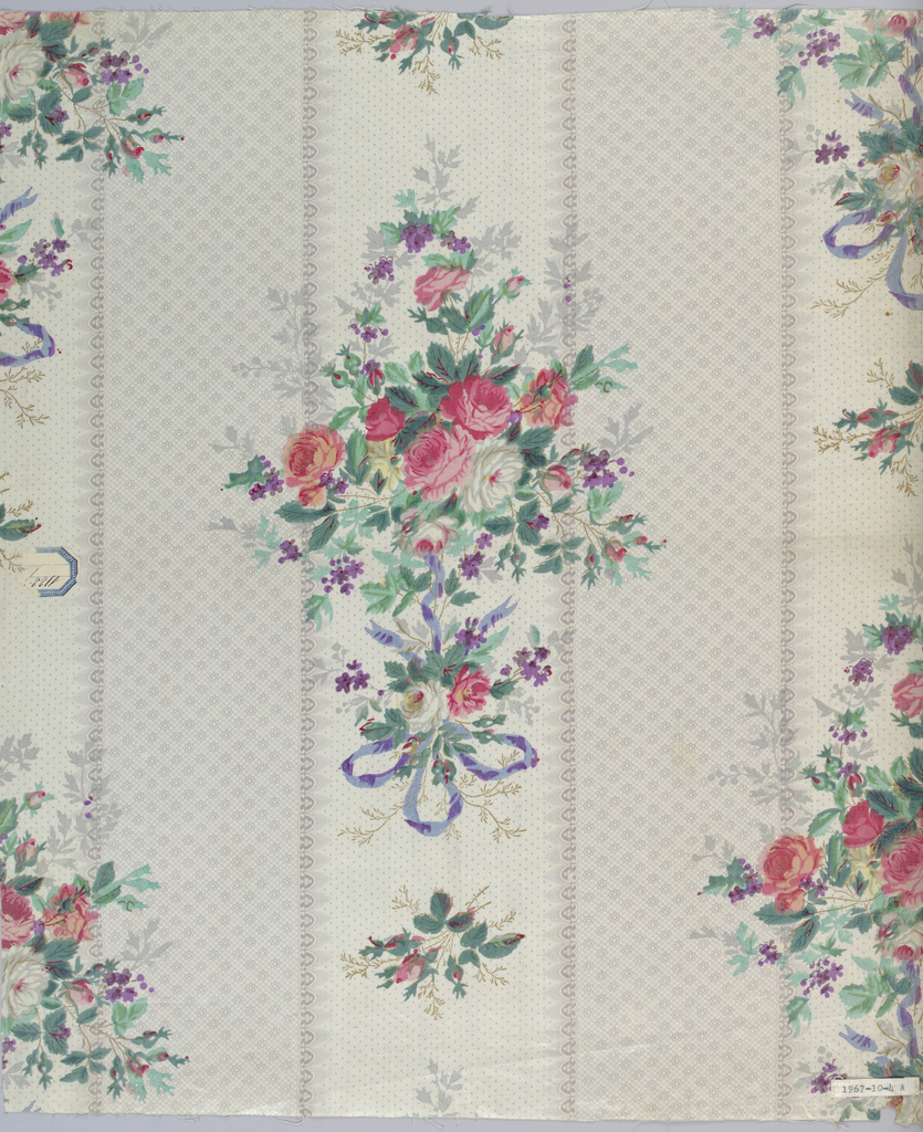 "a) Ground printed by ""molette"" in broad fancy stripes in grey, one stripe composed of rosettes, the other dotted, with fancy edge. Long cluster of roses, violets and ribbons printed in dotted stripe in red, grey, shades of green and violet, probably by block. B) Same design on green printed pround. Glazed."