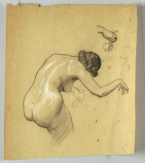 Bending female nude with head, torso and arms shown from the back. Left hand holds cup. Upper right, study of hand holding cup. Figure bends toward right.