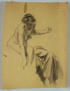 Seated female nude, right arm reaching downward, left arm extended to the right, head bent forward; study of drapery at right.