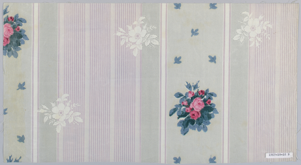 A) Molette ground in broad grey stripe and grouped pink stripes; over-printed with small rose clusters.  B) Same design as A with grouped  tan stripes.