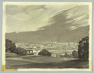 In foreground, lawns of cemetery with Tomb of Unknown Soldier to left. In background, panorama view of the city showing, among other buildings, the Washington and Lincoln Monuments as well at the Capitol.