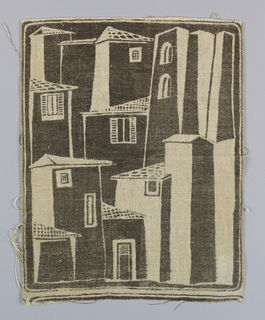 Single repeat with buildings, printed in brown with many reserve areas, on unbleached linen ground.