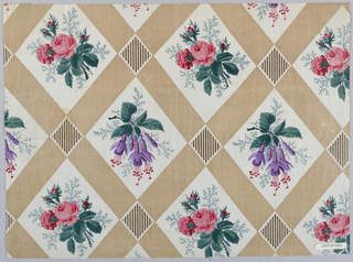 Ground divided into diamond shapes by broad bands of solid tan, intersected by brown and white stripes. Each diamond shape frames a floral spray of roses printed in pink, red, blue-green and lavendar.