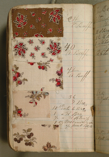 Small notebook with handwritten formulas for dyestuffs to be used for printing textiles. Book contains 321 cotton samples printed with various patterns.