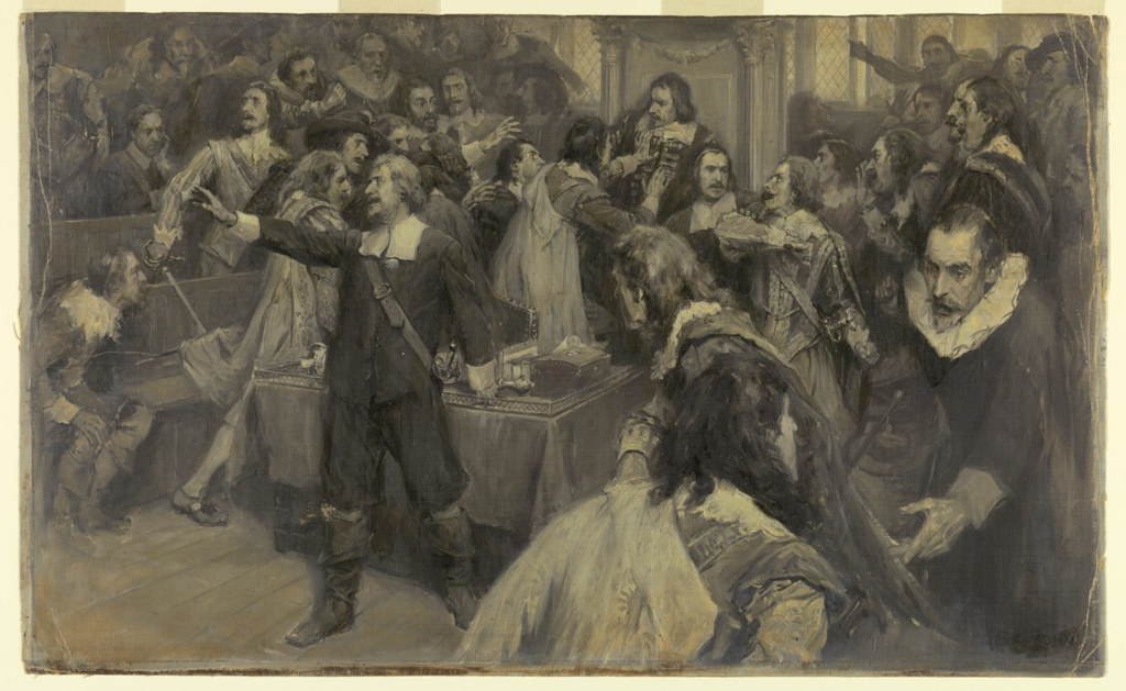 Numerous figures are shown in various states of agitation in the House of Lords.