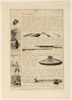 One of five sheets on the techniques of etching with illustrations of various processes involved, as vignettes.