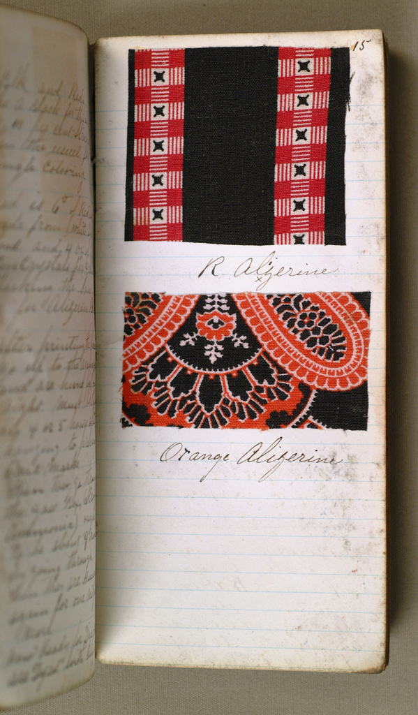 Small notebook with handwritten formulas for dyestuffs for printed textiles. Contains 97 swatches in a variety of designs.
