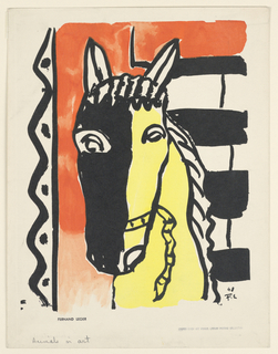 Vertical rectangle with the head of a horse in black and yellow, against a decorative background of zig-zagging lines and horizontal stripes.
