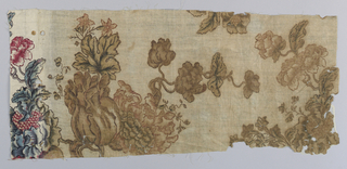 Rectangular fragment of cream-colored cotton in a large-scale floral pattern. Original colors were red, blue, violet and brown, but a large section is primarily brown with a small section on the left-hand side showing original colors.