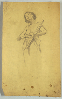 Standing female figure, partially draped from the waist down, holding a board in her left arm. Head tilted toward left and looking upward.