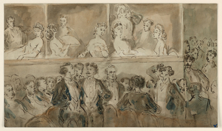 Horizontal rectangle. Interior of a theater showing groups of figures in three boxes and part of the pit. Women wearing low-cut dresses, tiaras, and earrings; men standing up in the pit with opera glasses trained on the boxes.