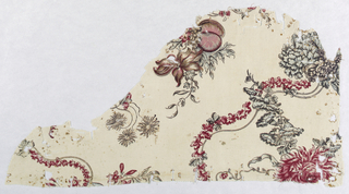 Fragment with a design of a curving vine with flowers and fruit in red, blue, violet and dark brown outlining.