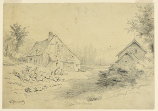 Half-timber farmhouse at left, before which are seen a woman and boy bending over a trough. Another house partially seen to right. Wooded area in background.