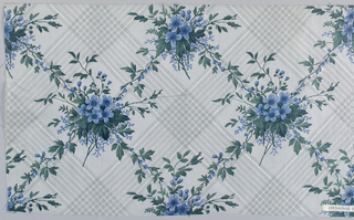 "Seven pieces, same design, different colors. A) Ground printed by ""molette"" in diamond-shaped design of stripes composed of minute dots in pale blue. Flower clusters in rose and dull greens, printed over background. B) Grey ground and flowers, strong green leaves. C) Grey ground, flowers old rose with green foliage. D) Grey ground, blue flowers, grey foliage. E) grey ground, grey flowers, blue-green foliage. F) lighter grey ground, flowers with strong green foliage. G) Greey ground, blue flowers, green foliage."